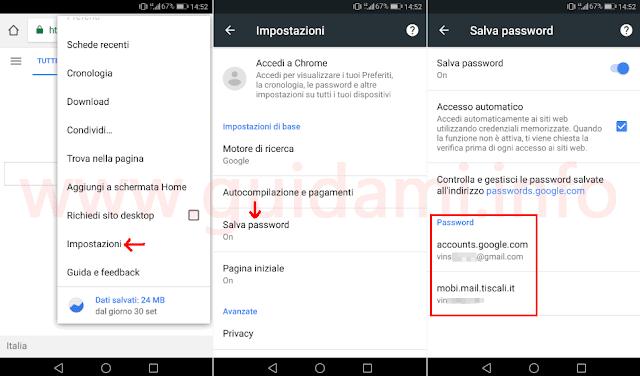 Chrome Android accedere a impostazioni password salvate