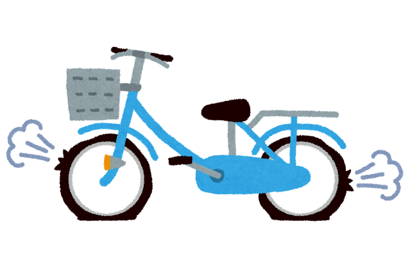 自転車のパンクのイラスト | かわいいフリー素材集 いらすとや