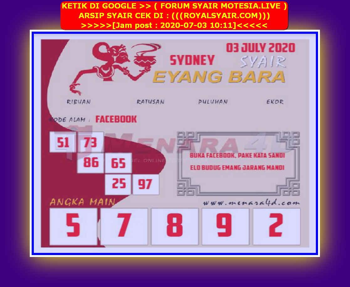 Kode syair Sydney Jumat 3 Juli 2020 122