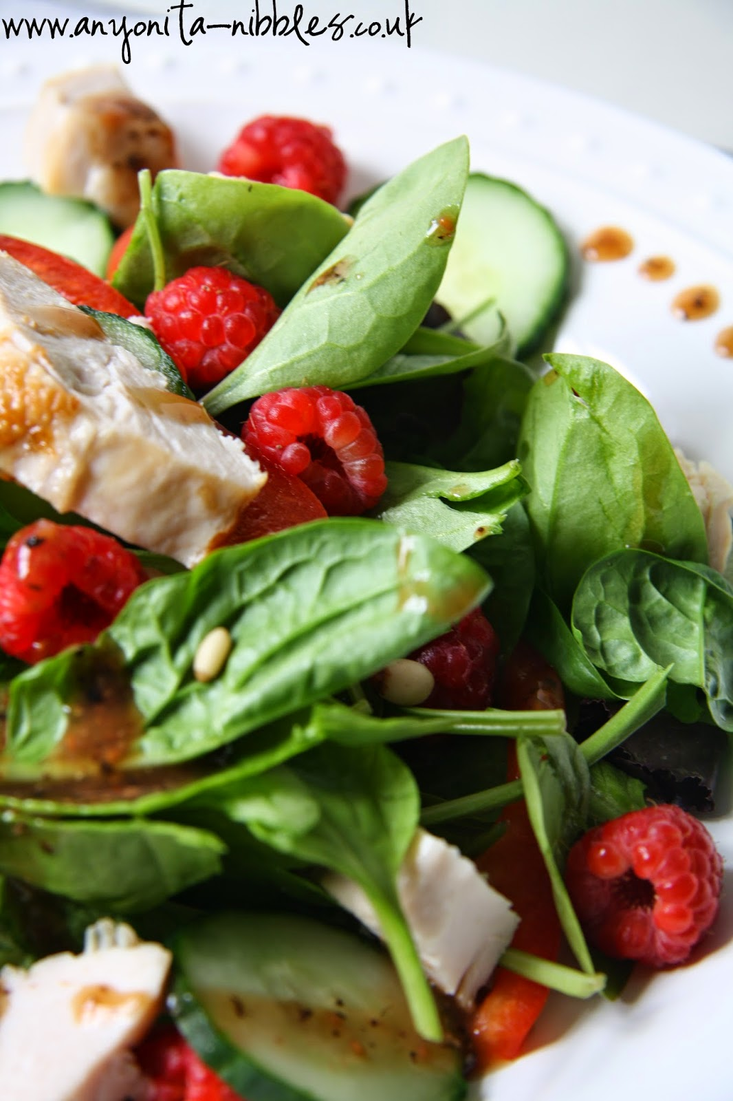Raspberry and chicken salad with black pepper dressing from Anyonita-nibbles.co.uk