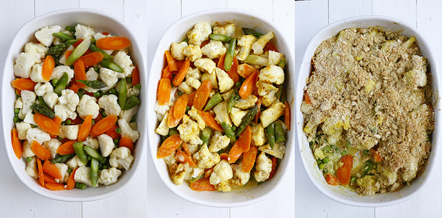 3 dishes filled with vegetables and a crumble