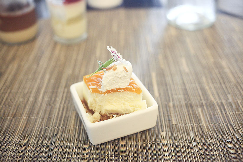 Mango cheesecake dessert at Coast