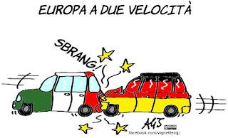europa, ue, integrazione europea, due velocità, economia, vignetta, satira