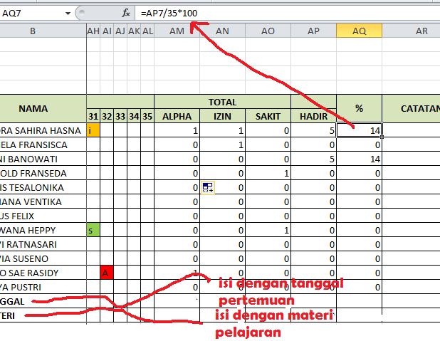 Tutorial Membuat Absensi Otomatis Di Excel 2010 Gurugeografi Id