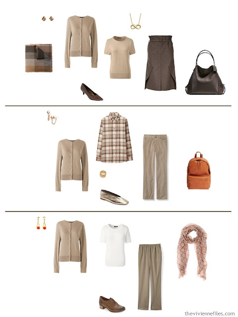 3 ways to wear a classic camel cardigan from a work capsule wardrobe in shades of brown