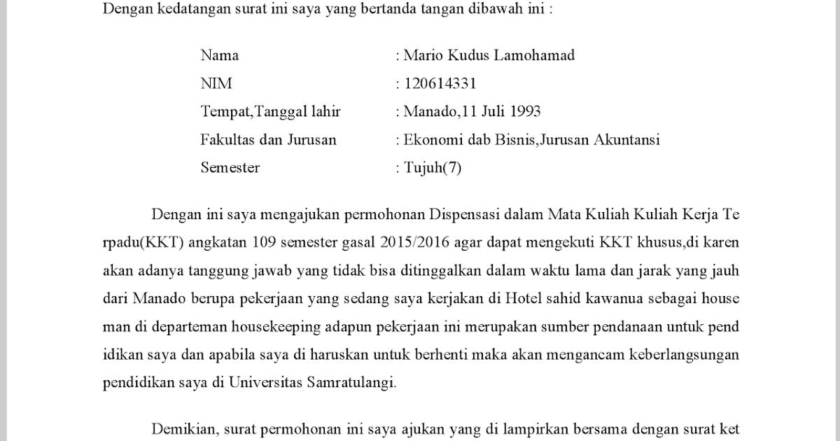 Contoh Surat Pernyataan Dispensasi Detil Gambar Online