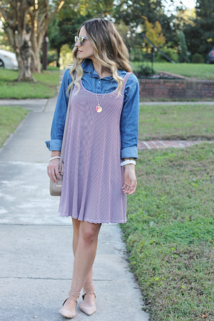 Maroon Stripe Dress with Lace Up Flats and Denim Shirt