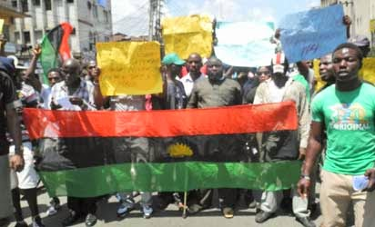 Members of the Movement of the Actualisation of the Sovereign State of Biafra (MASSOB) in procession