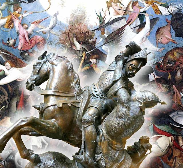 Carlos Martel em combate contra Abdul Rahman, Poitiers. J-F-Théodore Gechter, museu do Louvre.  Fundo: queda dos anjos rebeldes, Pieter Bruegel