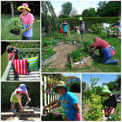 Our happy gardeners wearing Gudrun Sjödén hats and aprons