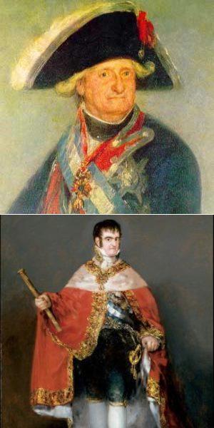 Carlos IV, um rei decadente. Na foto de baixo Fernando, o príncipe herdeiro, que tentou aliciar Napoleão em conflitos palacianos que levaram a que tanto pai como filho fossem obrigados a renunciar ao trono