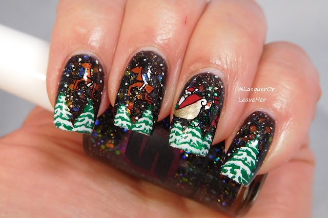 UberChic Beauty's Holiday Jingle and Holly Jolly plates over Shinespark Polish Black Opal