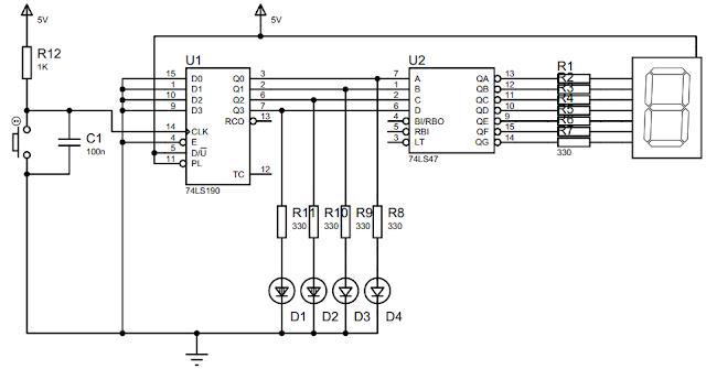 Rangkaian untuk Percobaan Synchronous Counter 74LS190
