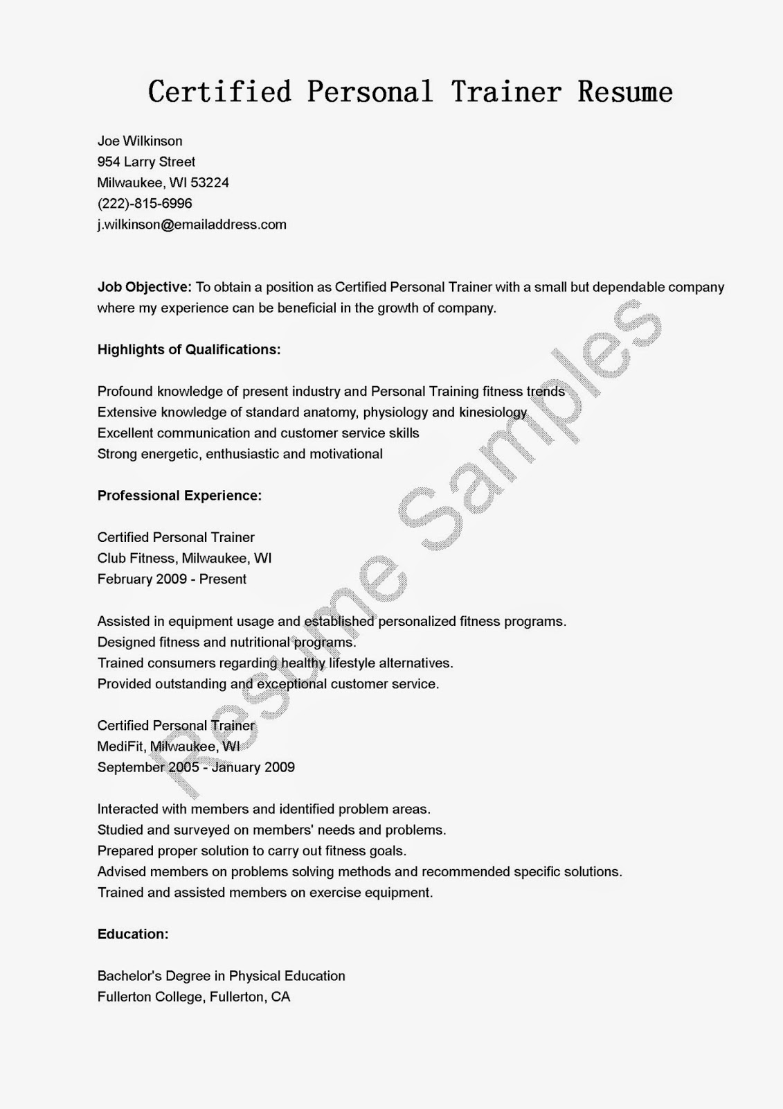 Personal Trainer Resume Objective Examples Resume Samples Certified Personal Trainer Resume Sample