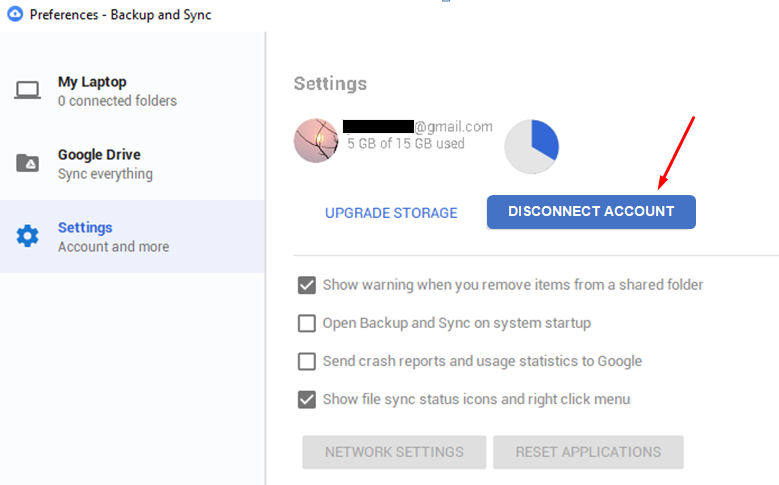 How to disconnect Google Drive Backup and Sync from computer