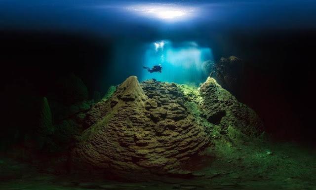 A imagem de um mergulhados no Abismo Anhumas está exposta no Museu Nacional de História Natural do Smithsonian, em Washington (Foto: Marcio Cabral)