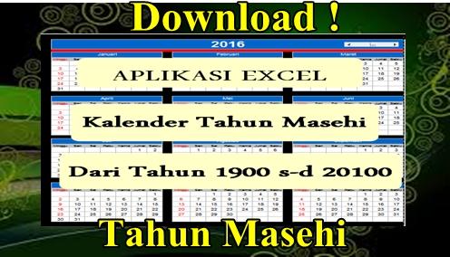 Aplikasi Format Excel Kalender Abadi Tahun Masehi [Tahun 1900 s~d 2100]