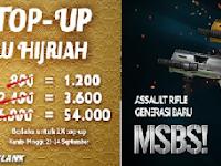 Event Promo Isi Cash PB Garena 21-24 September 2017, Bonus 50% cash + Senjata Baru