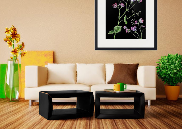 Sweet Pea Botanical Watercolor Flower painting in interior decor