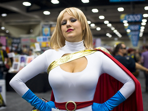 Sexy Power girl with large tits