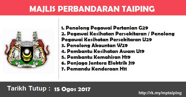 Jawatan Kosong di Majlis Perbandaran Taiping