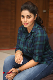 Actress Poorna Stills in Denim Jeans at Jayammu Nischayammu Raa Movie Interview 0234
