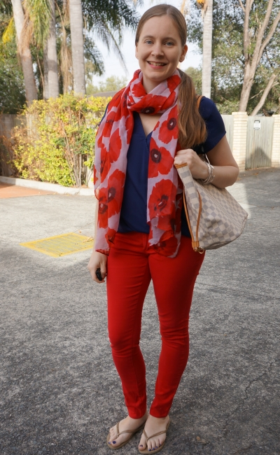 navy and red SAHM style skinny jeans outfit with poppy print scarf Louis Vuitton NF MM | away from blue