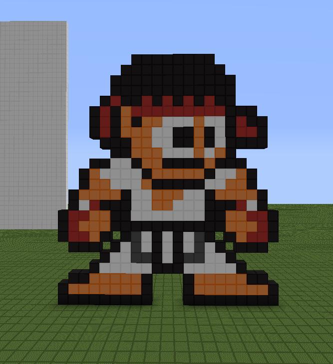 Minecraft Street: Minecraft Pixel Art Helper: Ryu (Street Fighter