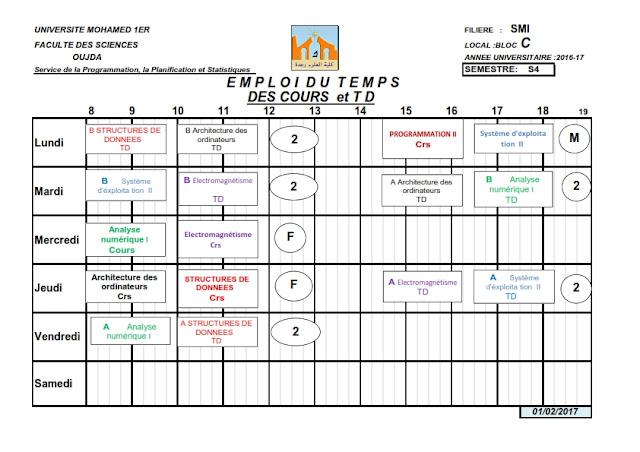 SMI S4 : Emploi du temps des Cours et TDs 2016/2017