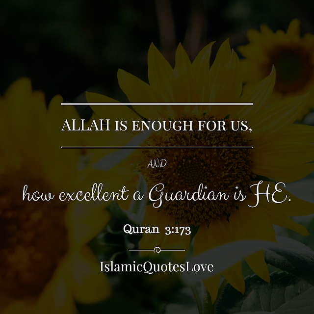 ALLAH is enough for us, and how excellent a Guardian is HE. Quran 3:173