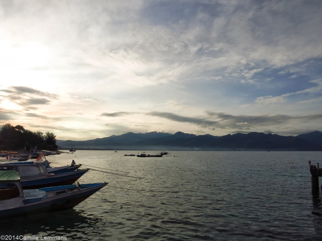 Sunrise over Gili Air and Lombok in Indonesia