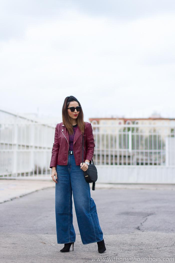 Influencer blogger valencia con look urban chic comodo estiloso idea como combinar Jeans palazzo flared cintura alta Naisha de Meltin' Pot