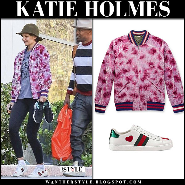 Katie Holmes in pink tie dye bomber jacket gucci and black leggings with Jamie Foxx street fashion february 14