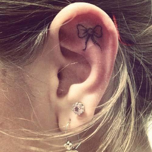 kulak içi kurdele dövmeleri inner ear bow tattoos