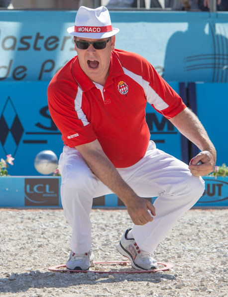 Prince Albert and Princess Charlene attended the 'Monaco Petanque Masters 2013' in front of the Monaco Palace  in Monte-Carlo