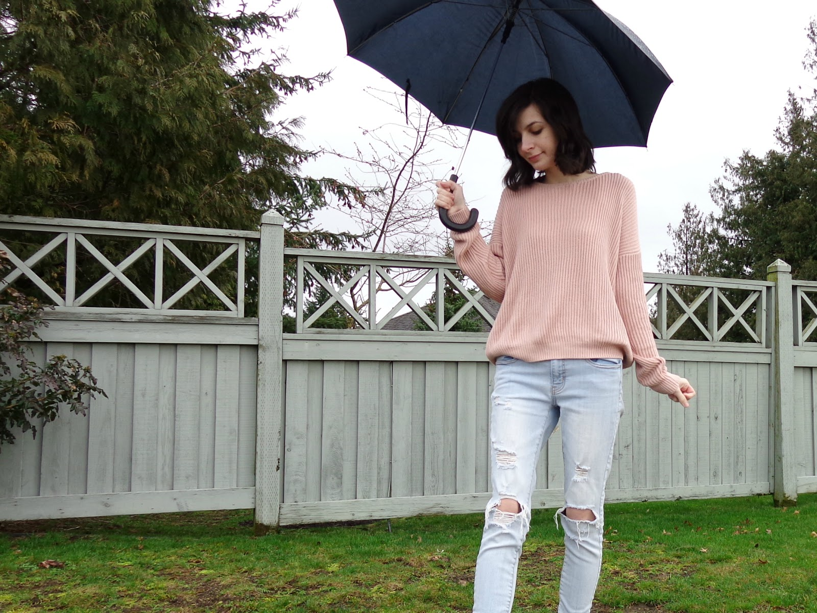 Rainy Days and Blush Jumpers Outfit