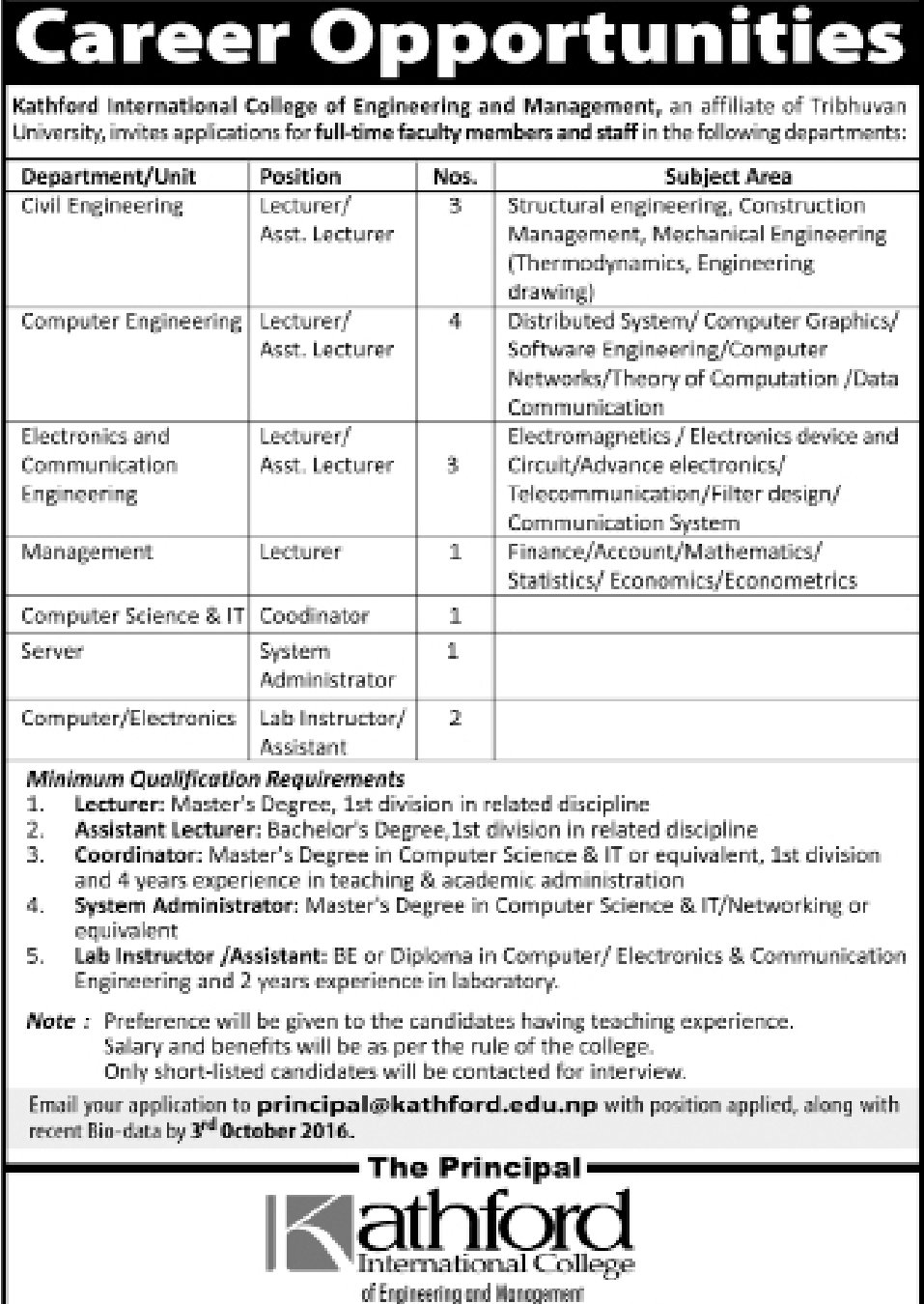 Engineering Management Jobs : Various engineer and sub jobs nos vacancy