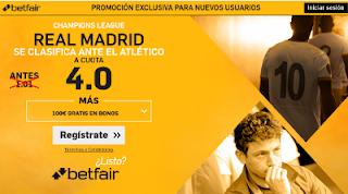 betfair supercuota 4 Real Madrid se clasifica ante Atletico champions 10 mayo