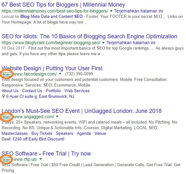 Contoh iklan yang biasanya ditampilkan di bagian bawah hasil penelusuran Google berdasarkan kata atau frase kunci tertentu (misalnya, tips seo blog)