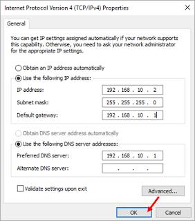 mengatur Ip, Subnetmask, default gateway dan DNS