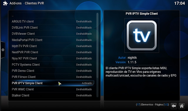 Config PVR IPTV SIMPLE CLIENT kodi XBMC