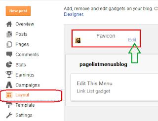 layout par click karne ke bad fevicon ke samne edit par click kare