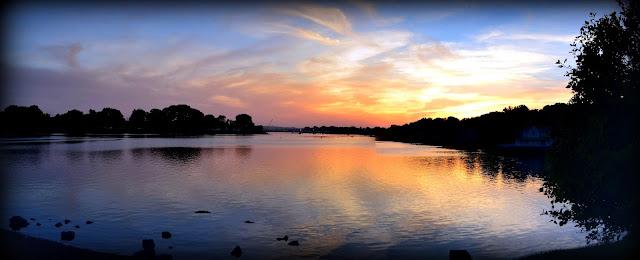 Sunset, Kernwood Bridge, Beverly, Massachusetts, pano, wide, danvers river