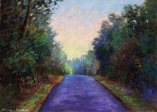 A soft pastel painting of a forest scene from Coorg on La Carte Pastel card by Sennelier