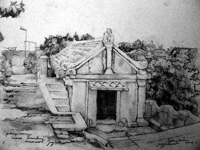 Sketsa Pintu Masuk Menuju Sumur Gumuling Taman Sari Jogjakarta
