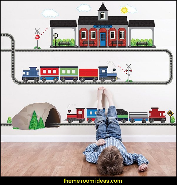Two Freight Trains, Train Station, Tunnel with Straight and Curved Railroad Track Movable Mural Wall Decals