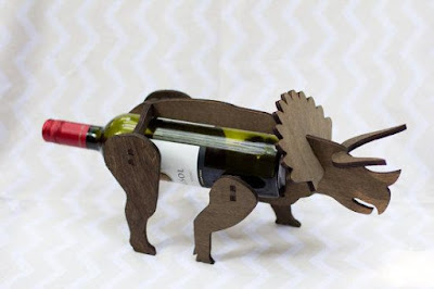 Wooden Dinosaur Beverage Bottle Holder
