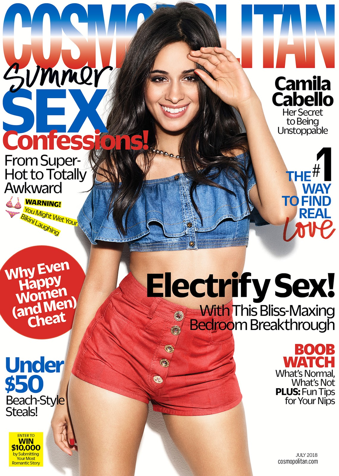 Camila Cabello bares legs for Cosmopolitan US July 2018