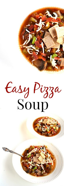 This easy pizza soup recipe combines all of your favorite pizza flavors in one bowl for a healthy and hearty meal! www.nutritionistreviews.com