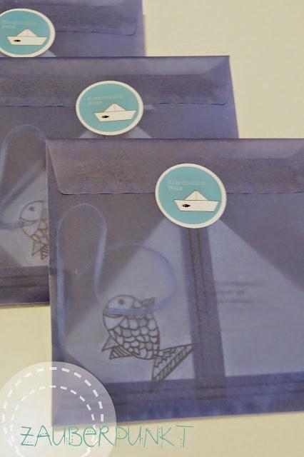 Einladungskarte Kommunion, Faltschiff, blau, Fisch
